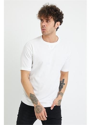 XHAN Hardal Petek Örgü Waffle Kumaş Oversize T-Shirt 1Yxe1-44876-37 Beyaz